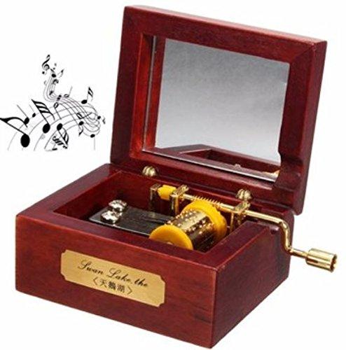Rojo envejecido madera manivela oro movimiento espejo caja de música castillo en el cielo por shopidea