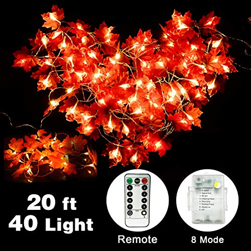 Yakoo Maple Leaves String Light, 20Ft 40 LED Light Fall Garland String Lights with 8 Modes Remote Control Battery Powered Indoor Outdoor Garden Yard Home Decor Autumn Christmas Thanksgiving Decoration from YAKOO