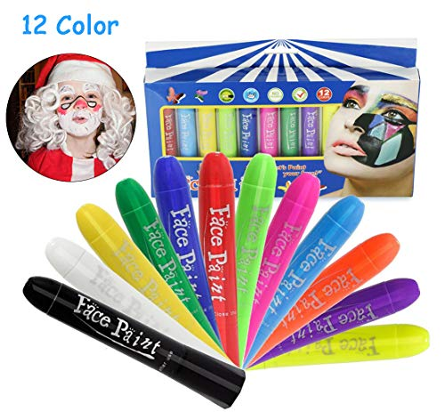 Face Paint Crayons Kit,12 Color No Mess Body Paint Sticks,Safe & Non-Toxic Washable Professional Rainbow Paint for Toddler/Adult/Teen/Kid, Ideal for Halloween/Christmas/Birthday Party/Sport Carnival]()