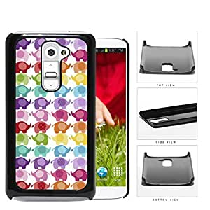 Colorful Mini Baby Elephant Pattern Hard Plastic Snap On Cell Phone Case LG G2