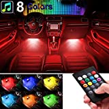 remote auto led lights - sunva Car LED Strip Light, Sound Active 4pcs 48 LED Multicolor Music Car Interior Lights Under Dash Waterproof Lighting Kit, Wireless Remote Control, Car Charger Included fit All Vehicles