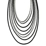 Sterling Silver Ruthenium-plated 8 Strand With Tassel Necklace W/2inch Ext. - 16 Inch