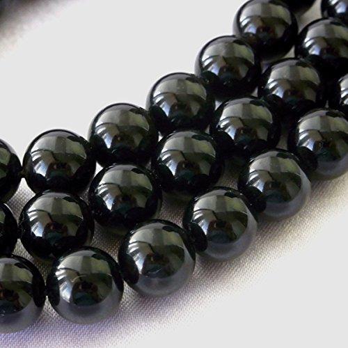 レア モリオン(黒水晶) 一連 真っ黒 連売り 素材 パーツ 丸玉 φ16mm真っ黒  B07S9HQJSD