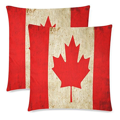 InterestPrint Vintage Canada Flag Throw Pillowcase Pillow Case 18x18 Twin Sides for Couch Bed, Retro Red Maple Leaf Zippered Cushion Pillow Cover Shams Decorative, Set of 2