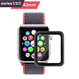 Bestfy 3D Full Coverage Screen Protector for 42mm Apple Watch, Tempered Glass, Anti-Scratch, Bubble-Free for iWatch 42mm with Series 1/ 2/ 3, 1 Pack
