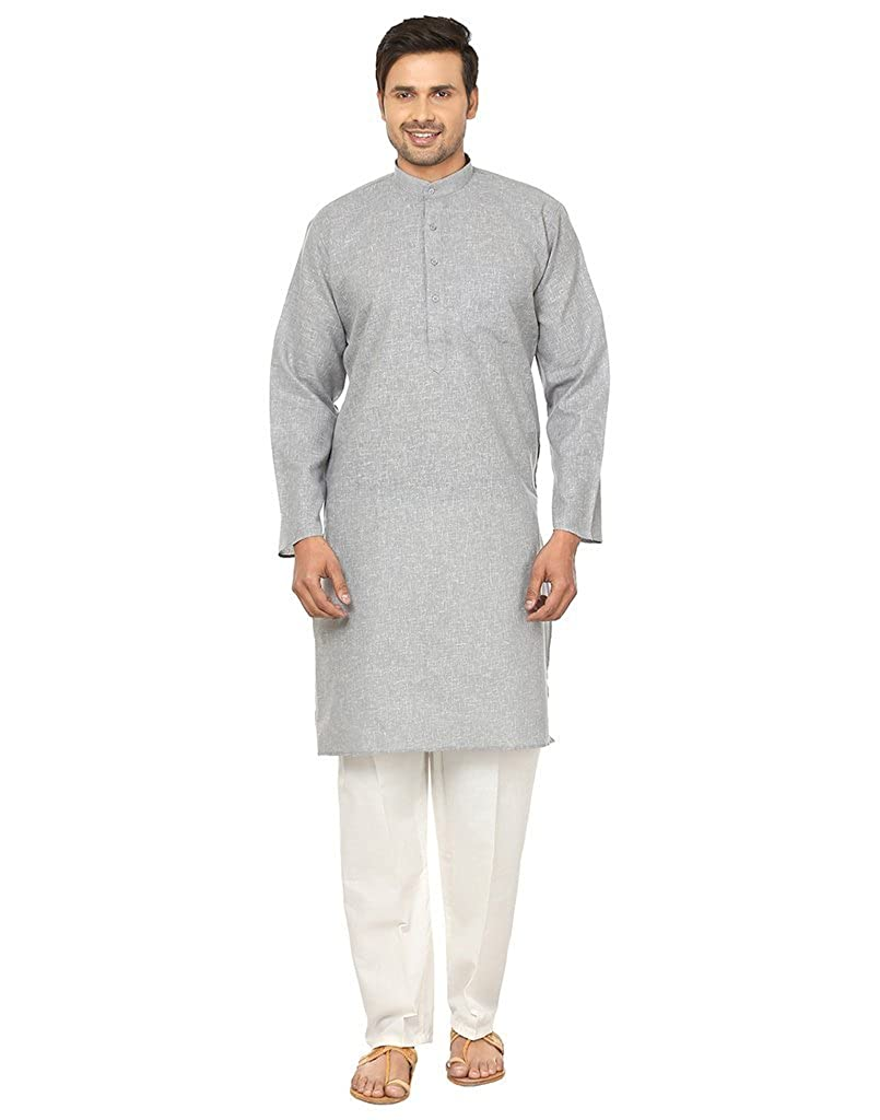 Royal Men's Cotton Blend Designer Kurta GREY-KP-1-L-$P