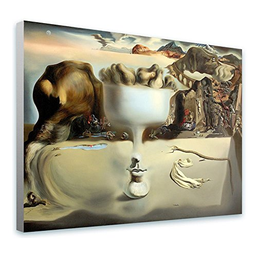Alonline Art - Apparition of Face Fruit Dish Salvador Dali Framed Stretched Canvas (100% Cotton) Gallery Wrapped - Ready to Hang | 39