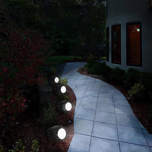 Solar Powered Rock Lights (Set of Four)- LED Outdoor Stone Spotlight Fixture for Gardens, Pathways, and Patios by Pure Garden by Pure Garden (Image #4)