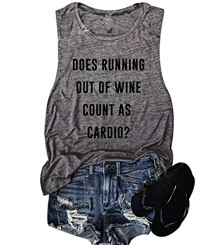 (Women Sleeveless Does Running Out of Wine Racerback Tank Top (Gray, M))