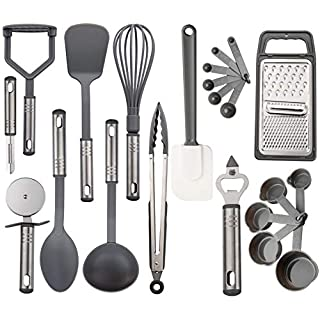 Lux Decor Collection Kitchen Utensil Set – 23 Nylon Cooking Utensils - Kitchen Gadgets Essentials Cookware Sets - Kitchen Utensil Set with Spatula - Kitchen Tool Set - Grey