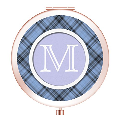 Cornflower Mirror (Travel Mirror, Cosmetic Woman Makeup Mirror Double Sides with Powerful 2x Magnification and 1X True View Mirror for Travel, Purses and Gift -Cornflower Blue Plaid)