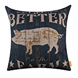 LINKWELL 18x18 inches Vintage Wood Look Farmhouse Pig Life is Better on The Farm Burlap Pillowcase Throw Cushion Cover (CC1265)