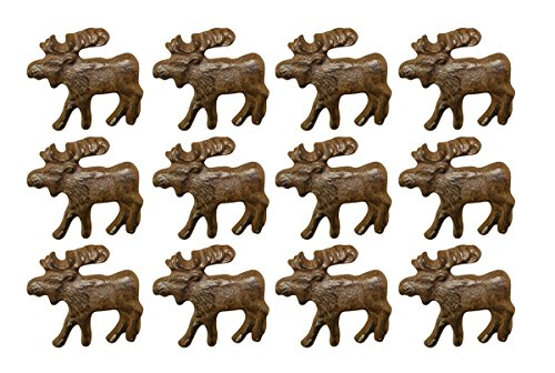 Zeckos Rustic Brown 12 Piece Cast Iron Moose Drawer Pull Set (Pulls Knobs Canada And)