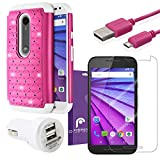 Fosmon Bundle for Motorola Moto G (3rd Gen, 2015): (HYBO-SD) Hybrid Case, 2100mAh Dual Port USB Rapid Car Charger, 2.1v Micro USB Charge Data Cable (1m), and 3-Pack [HD CLEAR] Screen Protector for Moto G (3rd Gen, 2015) (Hot Pink / White)