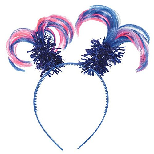 Blue Tinsel Wrapped Rainbow Colored Ponytails Headband Costume Party Headwear Accessory, Plastic, 5