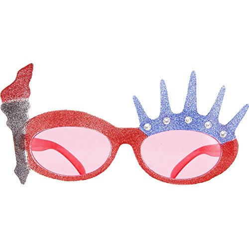 Elope Liberty Glitter Glasses, Silver,Red,Blue, One Size