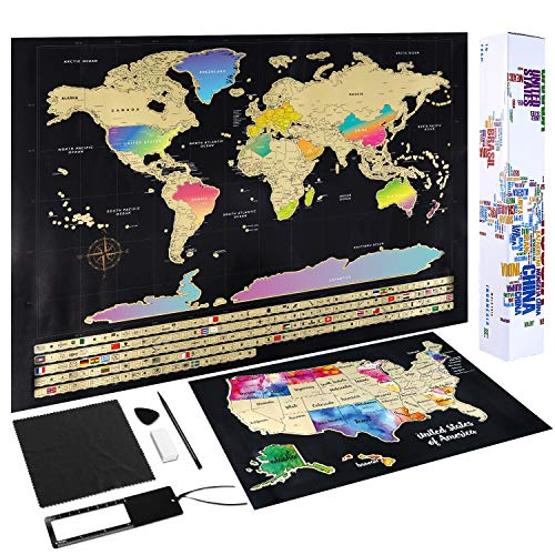 Scratch Off Map of The World - (2-in-1) World Map with Scratch Off USA Map, Gift Messaged Box + Storage Pouch with Bonus Tools - 23.4