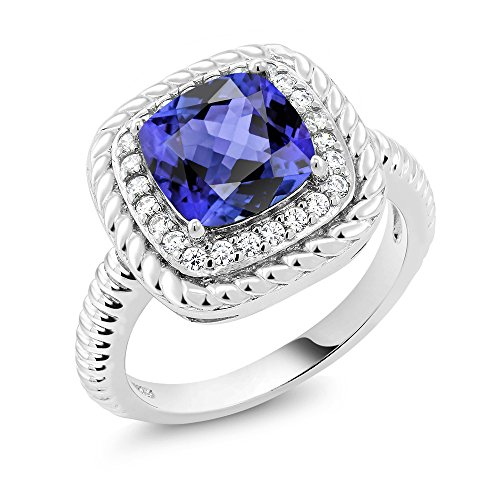 2.70 Ct Cushion Cut Blue Tanzanite 925 Sterling Silver Engagement Ring by Gem Stone King