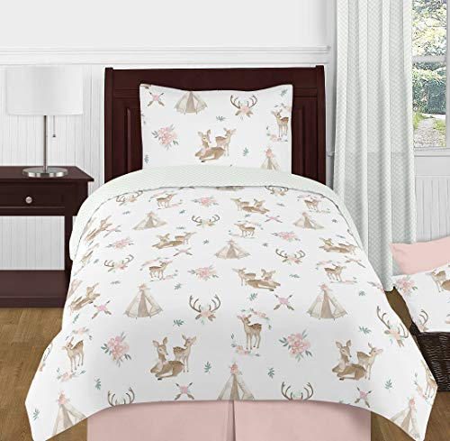 - Sweet Jojo Designs Blush Pink, Mint Green and White Boho Watercolor Woodland Deer Floral Girl Twin Kid Childrens Bedding Comforter Set
