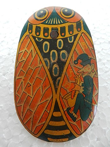 Vintage Oval Shape Owl & Clown Litho Print Baby Rattle Tin Toy , Japan by Indian Handicrafts Export