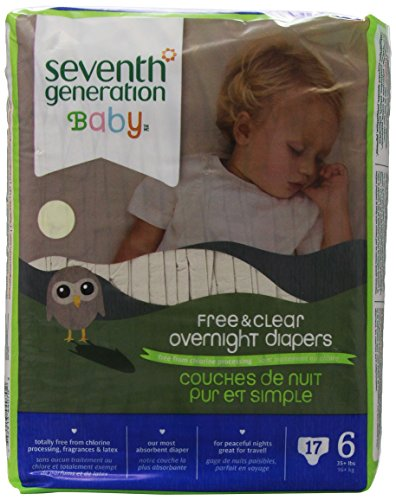 Seventh Generation Free & Clear Overnight Diapers, Size 6, 17 ct