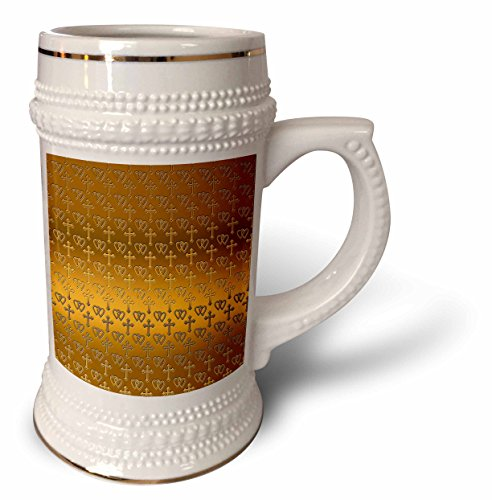 - 3dRose 777images Designs Patterns - Small gold entwined hearts and cross on a bright brass background. - 22oz Stein Mug (stn_35988_1)