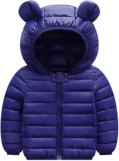 niceclould Winter Coat Toddler Kids Solid 3D Bear Ear Hooded Padded Jacket Outfit Body Boys Girls Snow Warm Clothes Outerwear