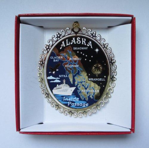 ALASKA Inside Passage ORNAMENT Brass Christmas Souvenir Travel Gift