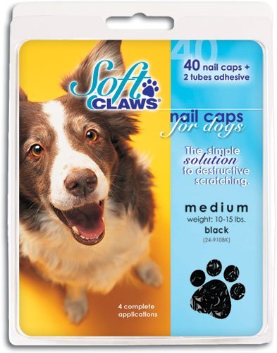 Soft Claws Canine Dog and Cat Nail Caps Take Home Kit, Medium, Black