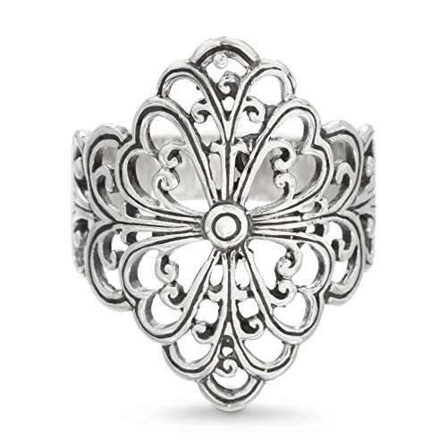Filigree Design Ring - WILLOWBIRD Floral Design Filigree Ring for Women in Rhodium Plated 925 Sterling Silver (Size 6)