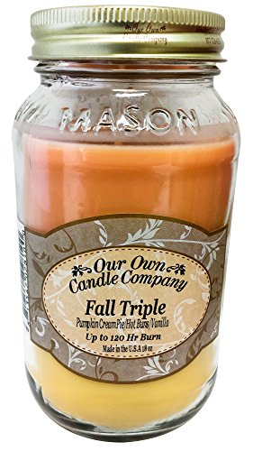 Fall Triple - Pumpkin Cream Pie, Cinnamon, and French Vanilla Scented Mason Jar Candle by Our Own Candle Company, 18 Ounce