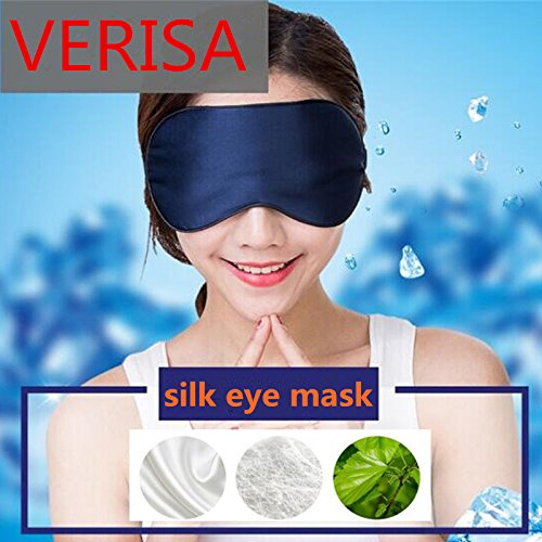 The Wolf Moon® Natural Silk Sleep Eye Mask & Eye Pillow for Dry-eye Sufferers, Super-smooth Eye Shades for Sleeping & Travel Anywhere Anytime BLUE