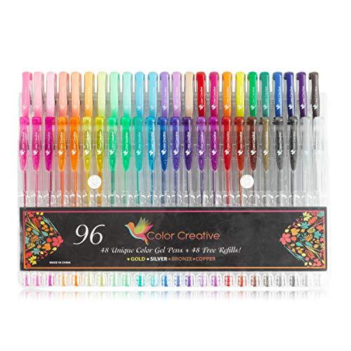 Color Creative 96 Gel Pens for Coloring. 48 Unique - colorful Gel Pens + 48 Refills. 24 glitter pens, 12 Watercolor and 12 Pastel Gel Pens for Drawing, Mandalas. Paint Pens for Adult Coloring books.