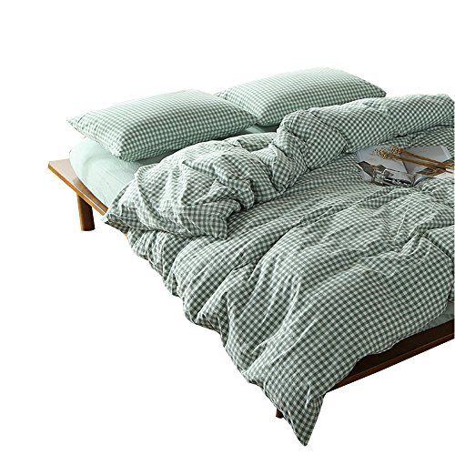 OTOB 3 Pieces Simple Green Plaid Duvet Cover Set 100 Cotton Chambray Queen Size 1 Duvet Cover 2 Pillowcases Luxury Soft Comfortable Breathable Grid Checkered Pattern with Zipper Ties, Green White - Comfortable Grid Pattern