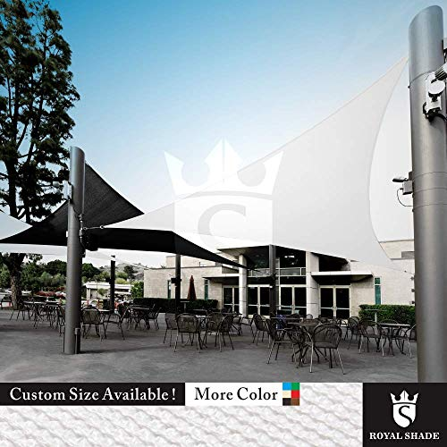 Royal Shade Custom Size Order to Make Sun Shade Sail Canopy Mesh Fabric UV Block Triangle – Commercial Standard Heavy Duty – 200 GSM – 5 Years Warranty Right Triangle 15 x 17 x 22.7 , White