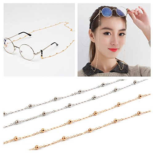 Kalevel Eyeglass Chain Beaded Glasses Sunglasses Chain Eyeglass Chains and Cords For Women Silver