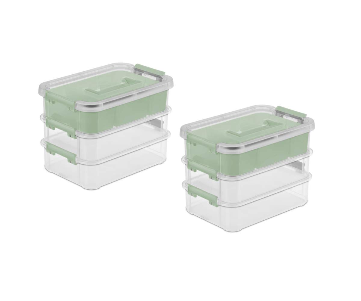 3 Layer Stack Case and Carry Tray Handle Box Organizer with Removable Divider, 2 Pack by MS Home (Image #1)