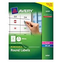 Avery Removable Round Labels, 1-Inch Diameter, White, Pack of 945 (6450)