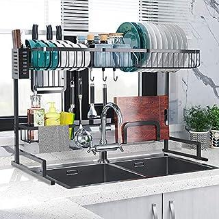 Fnboc Over The Sink Dish Drying Rack, Adjustable Dish Drainer Shelf Multifunctional Kitchen Storage Organizer With Utensils Holder (Sink size≤32.5in)