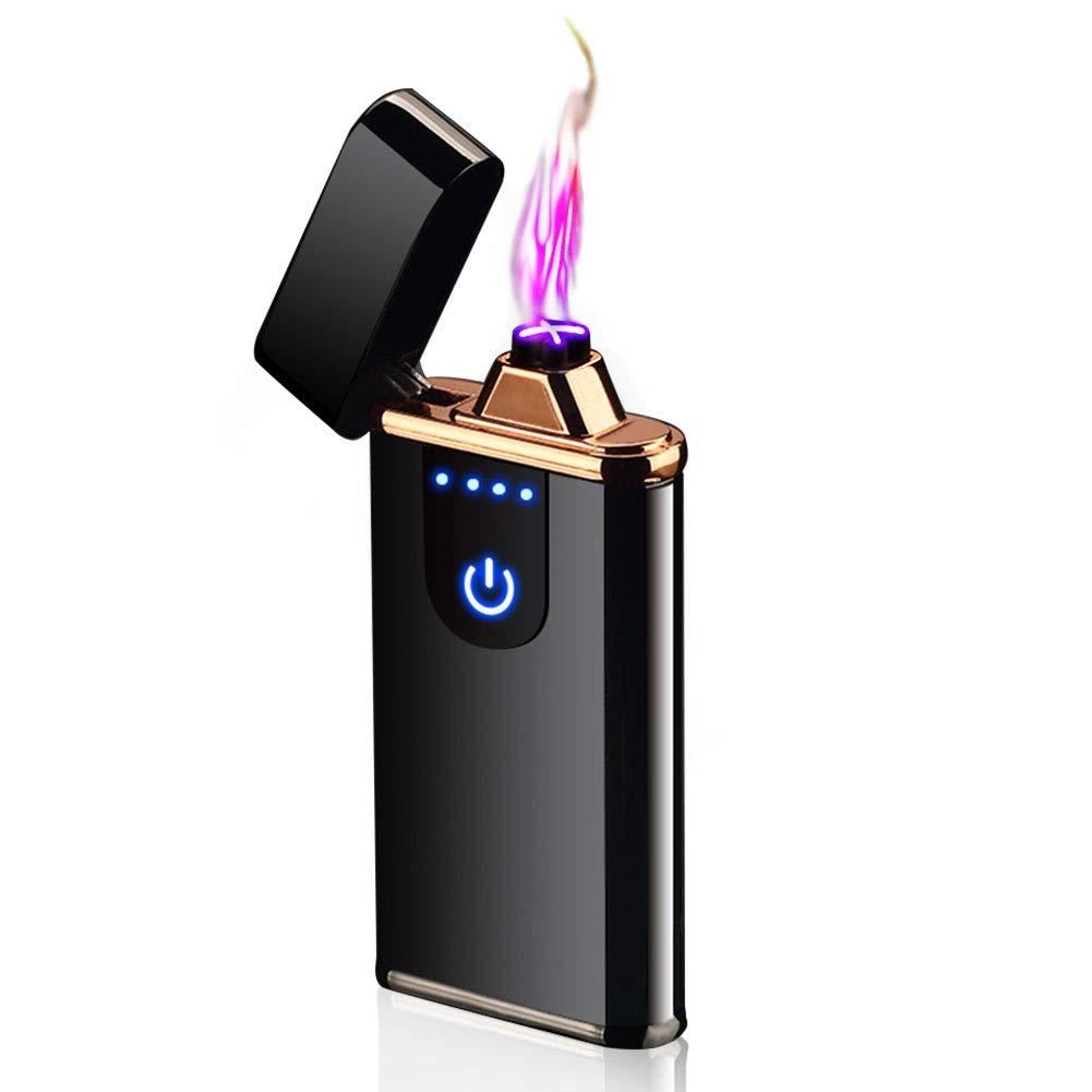 Encendedor Electrico, Pantalla Táctil Mechero USB Doble Arco Eléctricos, sin Llama, Prueba de