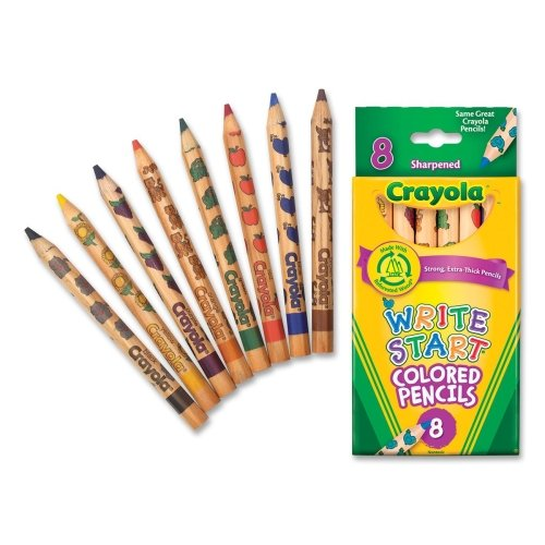 Wholesale CASE of 25 - Crayola Write Start Colored Pencils-Colored Pencils, Hexagon Shape, 5.3mm Tip, 8/ST, Assorted