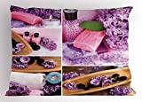 Lunarable Spa Pillow Sham, Aromatic Spa with Lilac Petals Fresh Therapy Oils Bath Salt Soap Relax Meditation Collage, Decorative Standard King Size Printed Pillowcase, 36 X 20 inches, Violet