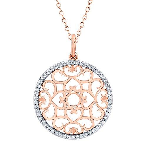 Hearts'n'Lace Filigree Diamond Pendant, 14kt Rose Gold