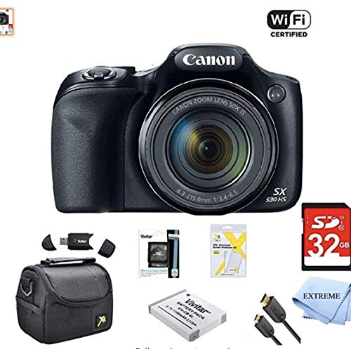 Canon Powershot SX530 HS 16MP Wi-Fi Super-Zoom Digital Camera 50x Optical Zoom Ultimate Bundle Includes Deluxe Camera Bag, 32GB Memory Cards, Extra Battery, Tripod, Card Reader, HDMI Cable & More (Best Superzoom Compact Camera For Low Light)