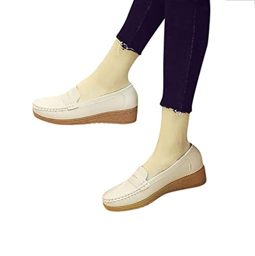 Amazon.com | Seaintheson Women Flat Single Shoe, Fashion Womens Casual Soft Buttom Peas Shoes Leather Moccasins Slip-On Driving Shoes Black | Loafers ...