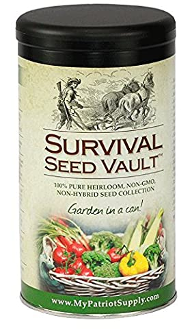 Survival Seed Vault Non-GMO Hardy Heirloom Seeds for Long-Term Emergency Storage – 20 Variety Pack in a Sturdy