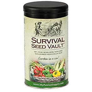 Survival Seed Vault Non-GMO Hardy Heirloom Seeds for Long-Term Emergency Storage – 20 Variety Pack in a Sturdy Can