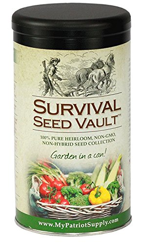 Non-GMO Hardy Heirloom Seeds for Long-Term Emergency Storage – 20 Variety Pack in a Sturdy Can ()