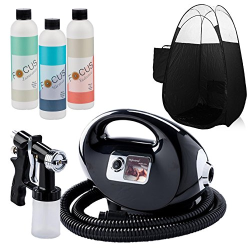 Tanning Self System (Black Fascination FX Spray Tanning Kit with Tanning Solution Pack & Black Tent)