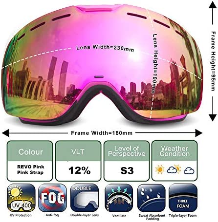 Mosodo Stylish Ski Goggles 2019 with UV400 Protection, Anti-Scratch, Anti-Fog, Full REVO Mirror Lens, Triple Breathable Foams, TPU Frame Embossed Strap Universally Fit for All Winter Sports Fans